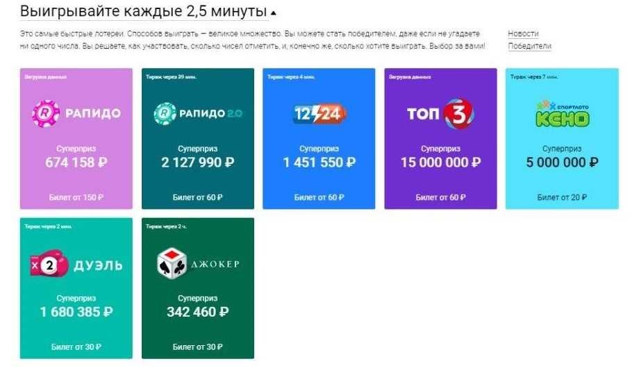 """Моментальные лотереи """"спортлото"""", 4 года застоя - timelottery"""