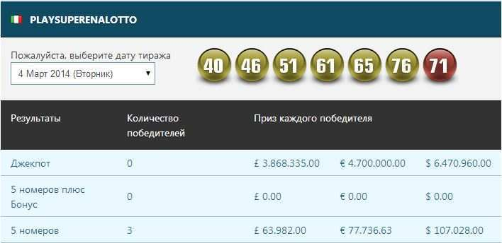 Итальянская лотерея супереналотто   лотерея италии   играть онлайн