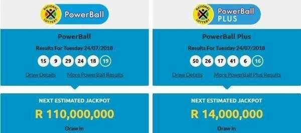 Etelä-Afrikka powerball   isot lottot